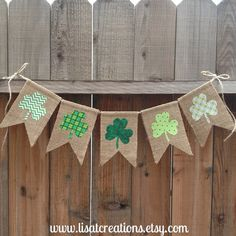 St Patrick's Day Burlap Bunting // Seasonal decoration