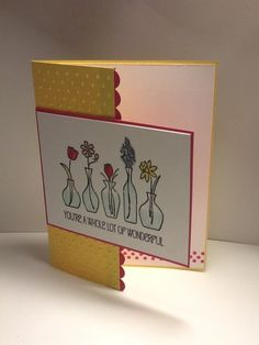 Stampin up vivid vase birthday card.