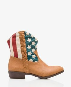 American Flag Cowboy Booties #Forever21 #Bootup #AmericanFlag #Cowboy