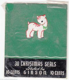 Christmas Deer Gummed Stickers Gibson 1950s  Package Seal Scrapbook Crafts