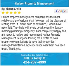 Harbor property management company has the most reliable and professional staff I've ever...