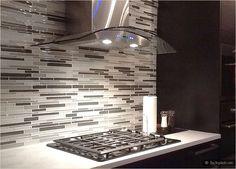 espresso brown dark kichen cabinets white countertop gray mosaic backsplash tile
