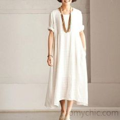 White casual linen sundress short Sleeve maxi dress summerThis dress is made of cotton linen fabric, soft and breathy, suitable for summer, so loose dresses to make you comfortable all the time. Trendy Dresses, Elegant Dresses, Casual Dresses, Short Dresses, Dress Long, Long Summer Dresses Casual, Loose Dresses, Summer Outfits, Linen Dresses