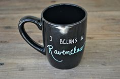 Ravenclaw Mug - Hand Painted Coffee Mug  - Black Mug Cup Ceramic Tea Cup…