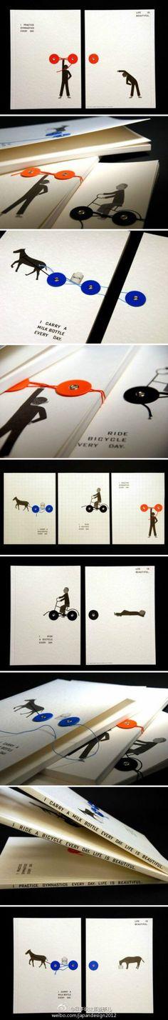 创意笔记本设计:听两圈一线讲故事,来自日本的D-BROS公司仅仅是给圆盘搭扣、细线配上了几个简单的图案,就创造出一系列新奇、有趣的笔记本。