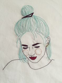 Imagem de embroidery, hair, and girl, Hand Embroidery Patterns, Embroidery Applique, Cross Stitch Embroidery, Portrait Embroidery, Textile Art, Blackwork, Needlework, Crochet, Girl Hair