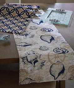 Appliqué Sea Life Coastal Table Runner #zulilyfinds   Home Decor    Pinterest   Coastal, Pink Zebra And Doors