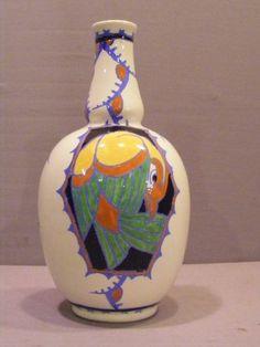 A Boch Freres Gres Keramis Charles Catteau Belgium Art Deco Bird Vase D. 1047