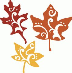 Silhouette Online Store: 3 flourished fall leaf set