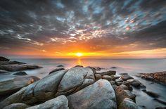Beautiful sunset at tropical rocks and beach by jassada wattanaungoon on Beautiful Sunset, Tropical, Celestial, Beach, Sapphire, Rocks, Pictures, Photography, Inspirational