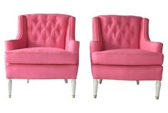 One Kings Lane - Shades of Spring - 1940s Pink Linen Lounge Chairs, Pair