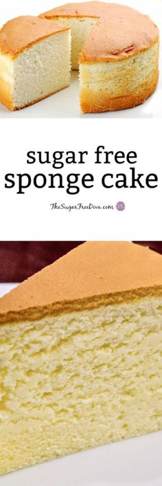 Free Sponge Cake- the recipe for how to make sugar free sponge cake. Sugar Free Sponge Cake- the recipe for how to make sugar free sponge cake. Sugar Free Deserts, Sugar Free Sweets, Sugar Free Recipes, Baking Recipes, Sugar Free Cakes, Sugar Free Vanilla Cake, Vanilla Sponge Cake, Sugar Sugar, Sugar Free Angel Food Cake Recipe