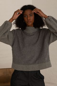 The Kona Grey jumper is your must have statement piece; uniquely made from soft Japanese wool and ribbing. Knitwear Fashion, Lace Bralette, European Fashion, Sustainable Fashion, Wool Blend, Jumper, Women Wear, High Neck Dress