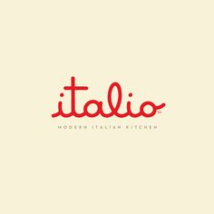 Italio / Restaurant / by Ron Boucher, creative director at Orlando-based Push / design / logo / identity / branding / red and yellow Typography Letters, Lettering, Graphic Design Typography, Collateral Design, Identity Design, Food Logo Design, Design Logos, Brand Design, Restaurant Branding