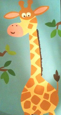 Cartoon Giraffe Canvas Painting for Nursery by ouiouishop, $75.00 and this one too! Order them NOW!!