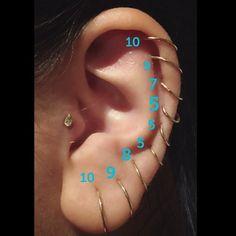 READY to SHIP Ear Cuff Wrapped No Piercing Earring Jewelry Elf Jewelry Wrap Ear hammered Hand Fantasy Earcuff Silver BFF Metal loop spirals - Custom Jewelry Ideas Cartalige Piercing, Full Ear Piercings, Ear Piercings Chart, Different Ear Piercings, Cute Piercings, Ear Piercings Cartilage, Multiple Ear Piercings, Body Piercings, Gold Bar Earrings