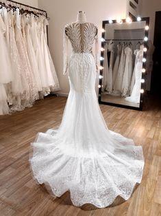 #longtrainweddingdress #fitandflare #longsleevebridalgown Lucy Dresses, Custom Wedding Dress, Horse Hair, Satin Fabric, Fit And Flare, Bridal Dresses, Bodice, Wedding Day, Feminine