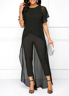 f42700a6abf95 Black Round Neck High Low Top and Pants