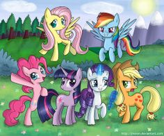 The Mane Six, just get some wings on twilight!