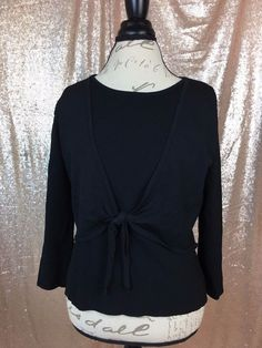Talbots Womens Large Black Casual Tie Front 3/4 Sleeve Cami Sweater Combo  | eBay