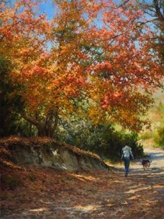 Autumn Stroll by Mark Haworth Oil ~ 40 x 30