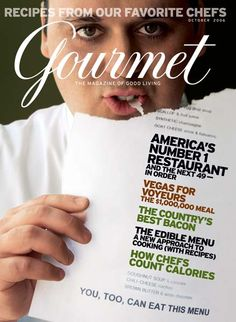 Letter case magazine- the one uppercase letter helps draw some attention to the title but the lower case after that don't take away from the actual cover like a lot of uppercase titles. I also like the cursive it adds class to the title suiting the gourmet food theme.