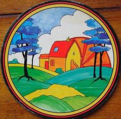 I absolutely adore this Clarice Cliff plate. Love the bright colors, love the house, love the landscape. Could be my inspiration piece. Pottery Painting, Ceramic Painting, Ceramic Artists, Pottery Art, Pottery Houses, Clarice Cliff, Zentangle, Art Nouveau, Cottage Art
