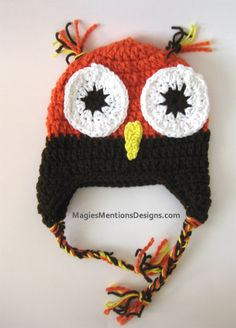Autumn Fall Halloween Crochet Owl Ear flap Beanie Cap Hat Handmade - Perfect for Photo Prop or Gift - Different Sizes Available Custom Made $16.00