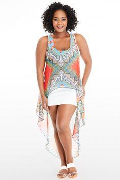 Plus Size Calista Chiffon Overlay Tank Dress | Fashion To Figure #PlusSizeFashion