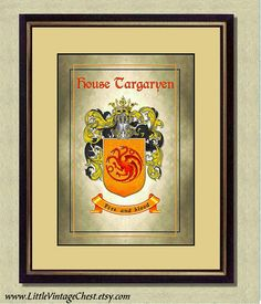 HOUSE TARGARYEN Coat of Arms  Game of by littlevintagechest, $7.99