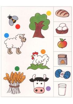Disons EST ICI logico PRIMO Piccolo et change-Chat discussion fermeture… Farm Activities, Toddler Learning Activities, Teaching Kids, Kids Learning, Infant Activities, English Worksheets For Kids, Kids Math Worksheets, Preschool Printables, Preschool Crafts