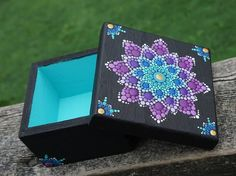 Dot Art Mandala Flower Box Painted Teal Blue Purple Gold Collectible Wood Square by LaBellaArtigiana on Etsy Mandala Art, Mandala Painting, Flower Mandala, Mandala Design, Painted Wooden Boxes, Painted Jewelry Boxes, Hand Painted, Dot Art Painting, Stone Painting