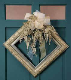 A perfect wreath created with a lovely square picture frame... What an easy way to add #art to your home! recycle, upcycle, green.... dried flowers, ribbon, spray paint, distress, stain... DIY, free or cheap (Dollar store) thrift stores