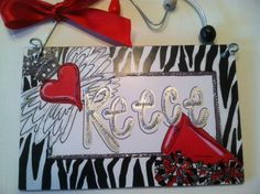 Hand personalized fun and funky cheerleader sign. Gift Idea