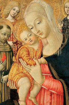 Detail Of Madonna And Child With Angels (Print) by Matteo di Giovanni di Bartolo