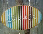 Thankful Embroidery Wall Art via @theelyse