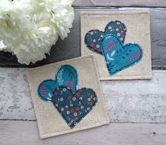 Set Of 4 Heart Coasters, Heart Decorations, Coaster Set, Fabric Coasters, Love Hearts, Drinks Coasters, Coffee Coasters, Table Decorations by TheCornishCoasterCo on Etsy