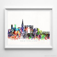 Montpellier, France Watercolor Skyline Wall Art Poster - Prices from $9.95 - Click Photo for Details - #skyline#watercolor#cityscape#wallartposter #Montpellier #France