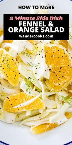 With only 4 ingredients, Italian Fennel and Orange Salad is the perfect vegan salad recipe, ready in under 5 minutes. Crisp slices of fennel, juicy orange, and a splash of olive oil make this a refreshing side dish with a natural citrus vinaigrette. Easy Summer Salads, Summer Salad Recipes, Easy Salad Recipes, Perfect Salad Recipe, Fennel And Orange Salad, 4 Ingredient Recipes, Citrus Vinaigrette, Recipe Ready, Dinner Salads