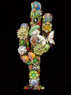 Colorful Southwestern Cactus Vintage Jewelry Art Wall Art Tucson
