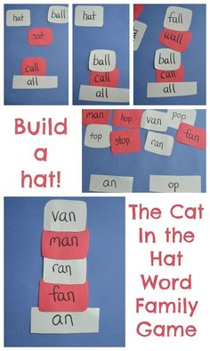 "Play with word families by building ""Cat in the Hat"" hats. This activity helps kindergarten aged children see relationships between words. With guidance and support from adults, explore word relationships and nuances in word meanings. Dr. Seuss, Dr Seuss Week, Dr Seuss Activities, Book Activities, English Activities, Activity Games, Math Games, Student Teaching, Teaching Reading"