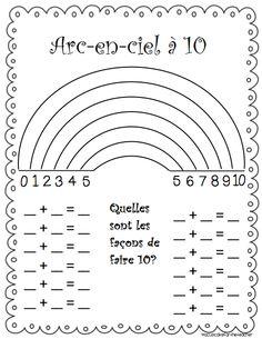 Modifications pour les français, les compléments à 10 ou amis de 10, façon arc-en-ciel. Rainbow to 10