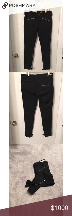 "Anthropolgie, Pilcro motto pants Anthropolgie, Pilcro black moto pants.  Very flattering on.  Lots of zipper detail. Pristine condition like new! Inseam 27.5"" Anthropologie Pants Skinny"