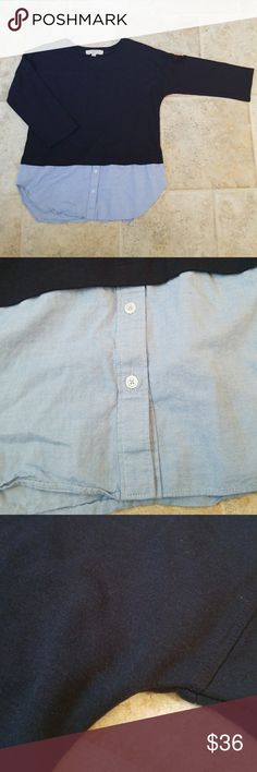 NEW ITEM Ann Taylor LOFT Navy Blue Denim Medium I have here this super cute soft navy blue denim sweatshirt from Ann Taylor LOFT and that is a size medium. This top is perfect for any occasion! Great for a professional / work setting or just for a night out with the girls! There are no signs of wear, no stains or rips.  I LOVE OFFERS! Sorry no trades! Bundle to save! LOFT Tops Tees - Long Sleeve