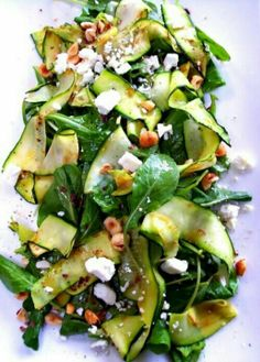 Zucchini feta/goat cheese salad #LunchIdeas #BacktoSchool #lunch #inspiration #recipes #food #healthy #snacks #children #karate #workout