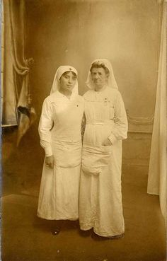Two nurses at Saint Elme mobile hospital in France during WWI