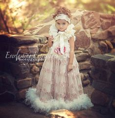Rosebud Flower Girl Feather Dress