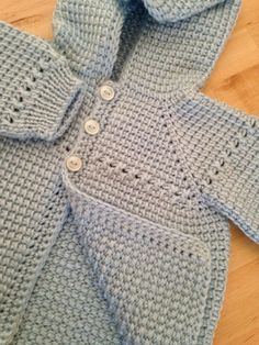 Crochet Baby Boy Sweater with Hood - Blue - 0-3 Months - Tunisian Crochet - Handmade by ForBabyCreations on Etsy