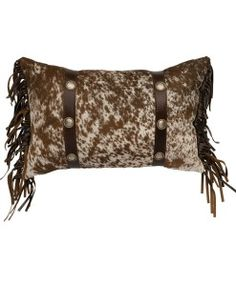 Speckled Cowhide Pillow with Straps & Conchos