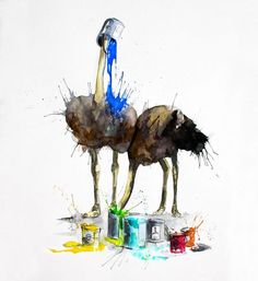 Artist Phillipp Grein paints beautiful watercolors of animals with a difference. Although he sticks to conventional hues for painting the animals themselves, his work is characterized by bold splashes of rainbow colors. These bright colors add an extra dimension to his work and make his paintings really stand out from the crowd. Take a look!